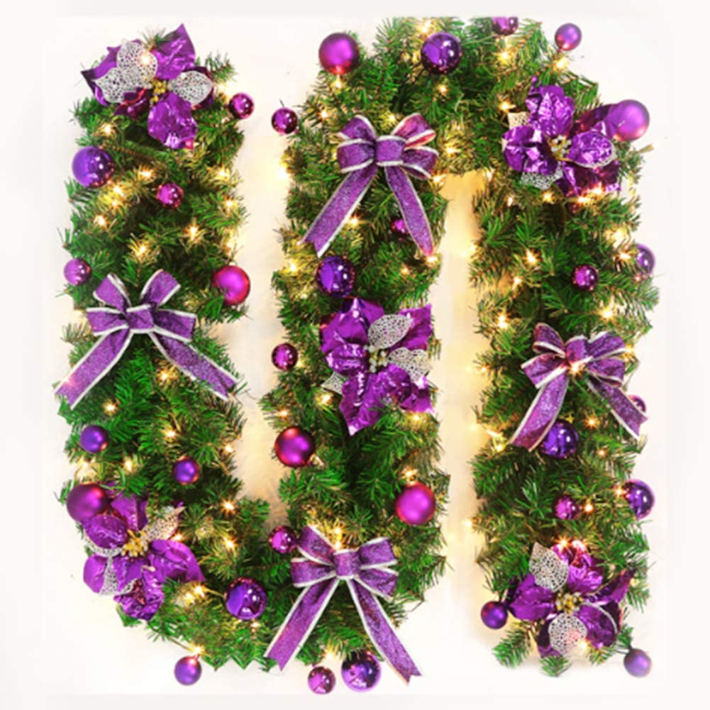 CenYC 8 FT Purple Christmas Garland Decor with Lights Glitter Ball Ornaments, Battery Operated Xmas Garland Wreath, for Outdoor Indoor Mantle Fireplace Stairs Holiday Decor