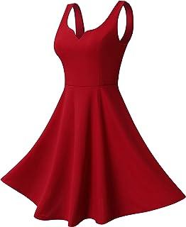 Missufe Women s Sleeveless Sweetheart Flared Mini Dress 496615ea6233