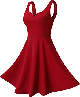 Missufe Women's Sleeveless Sweetheart Flared Mini Dress