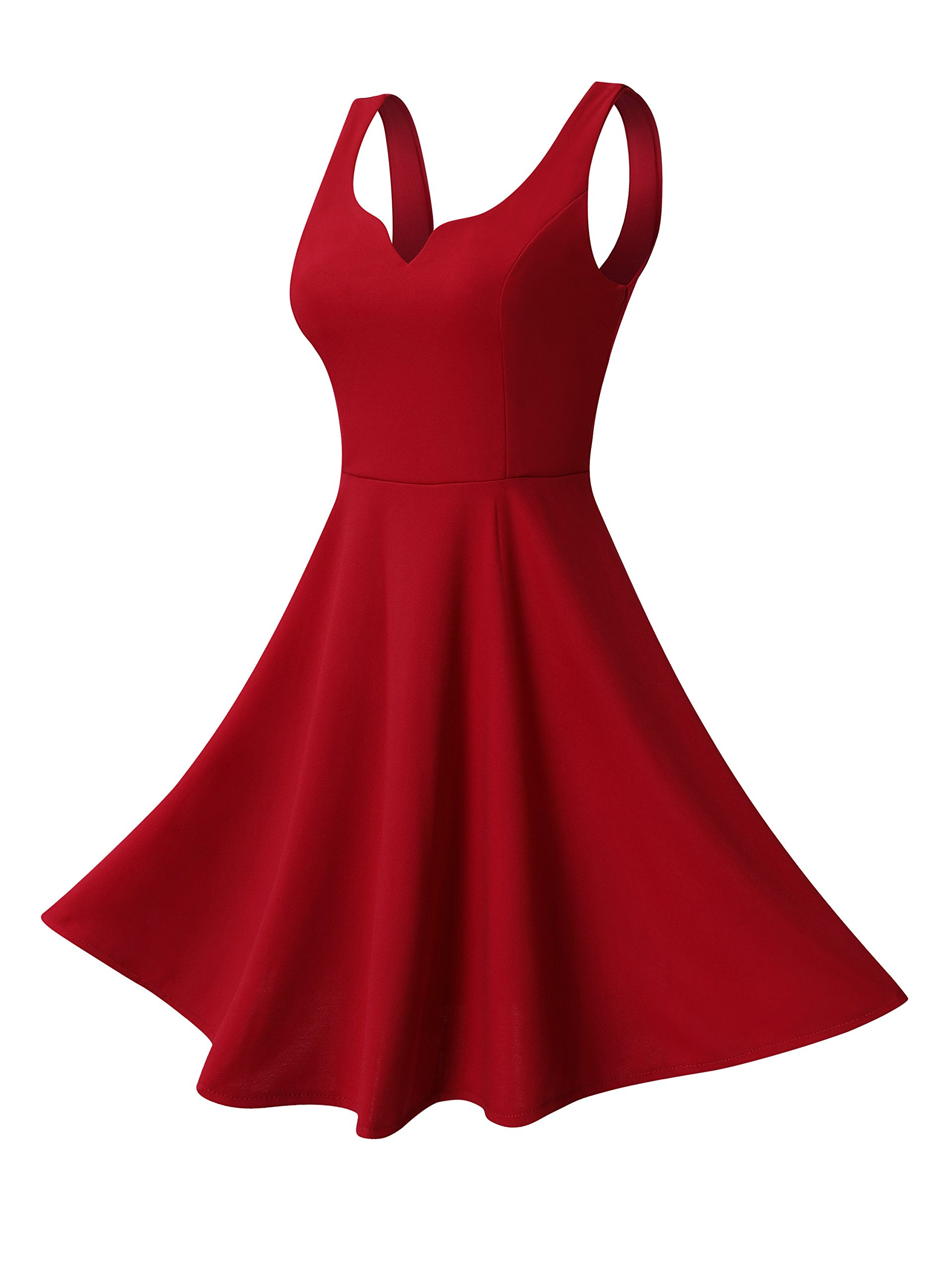 Red Dress - Women's Stretchy A Line Swing Flared Skater Cocktail Party Dress