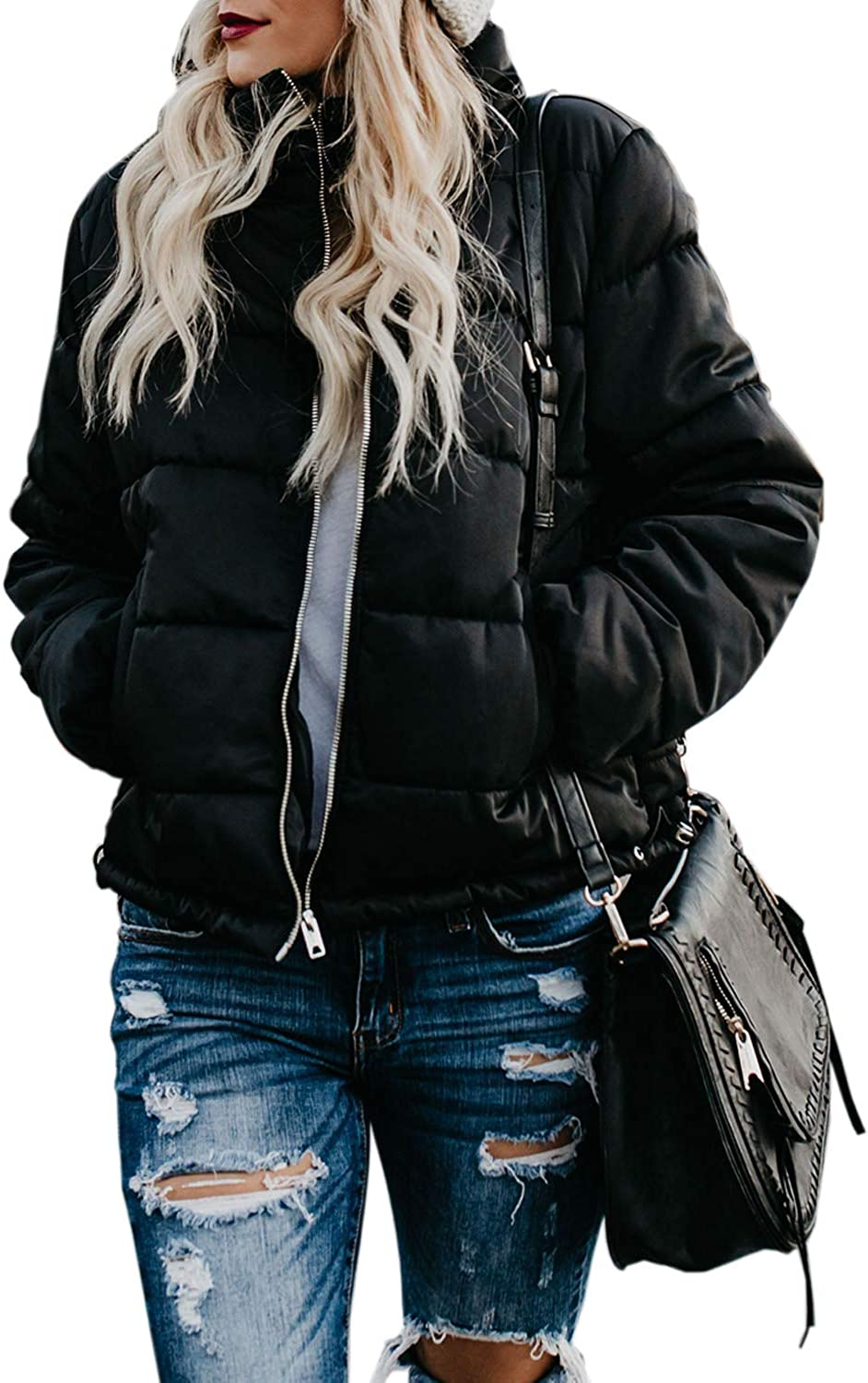 Dokotoo Womens Winter Fashion Zip Up Quilted Jacket Coat Outerwear (S-XXL,No Hooded)