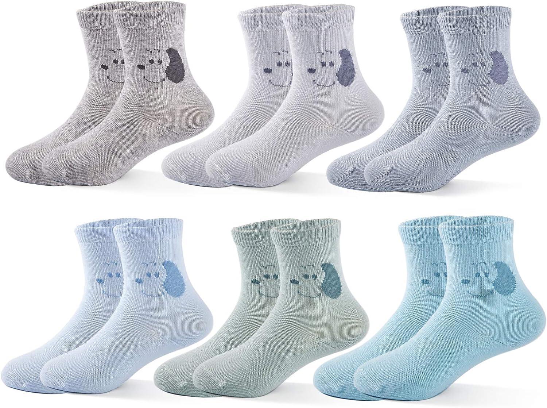 Boys Seamless Toe Socks Cotton Crew Athletic Socks Colorful Quarter Socks
