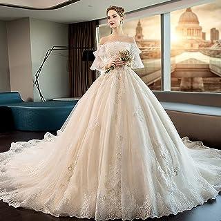 b786c23c36e CJJC Élégant Surdimensionné Enceinte Robes De Mariée Blanc Manches Longues  Robes De Queue Longues avec Dentelle