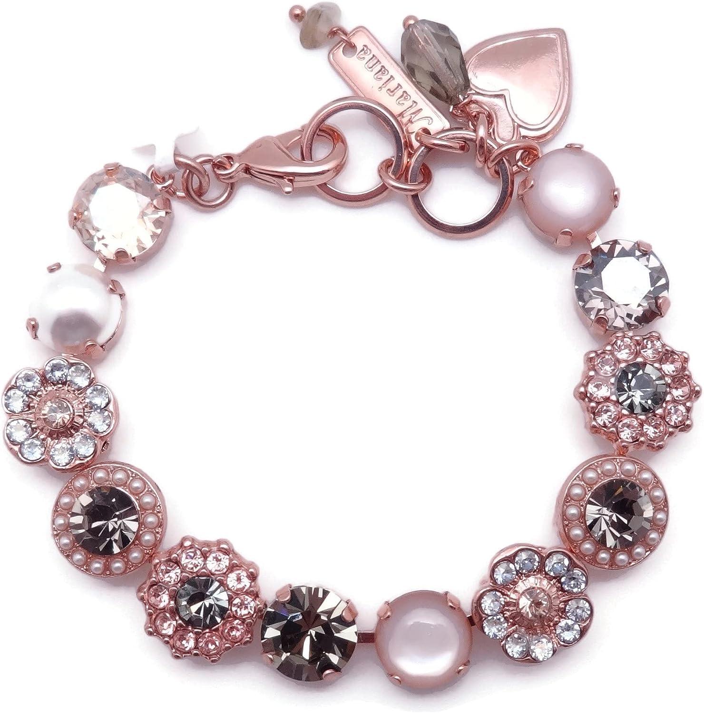 Mariana Earl Grey Max 61% OFF Kansas City Mall Rose Goldtone Bracelet Crystal Silk Dark