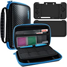 4 in 1 Protective Kit Compatible New 2DS XL, AFUNTA Zipper Carrying Case, Silicone Cover, Stylus & 2 PET Films Screen Prot...