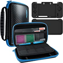 4 in 1 Protective Kit Compatible New 2DS XL, AFUNTA Zipper Carrying Case, Silicone Cover, Stylus & 2 PET Films Screen Protectors for Top & Bottom Screens, for 2DS LL & Accessories - Black