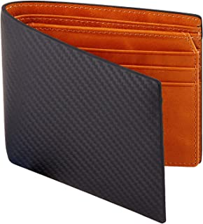 Men's Carbon Fiber Leather Wallets Bifold with RFID Blocking, Designer Leather Wallets with 1 ID window for Men (Black+Orange)