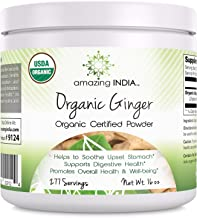 Amazing IndiaUSDA Certified Organic Ginger Powder (Non-GMO)16 oz-Raw, Vegan, Gluten-Free, Plant-Based - All Natural Digestive Aid, Helps with Nausea and Upset Stomach, Promotes Heart