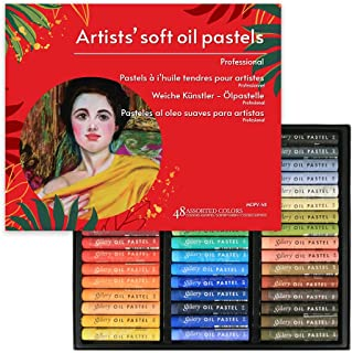 (48 Colors) VIOLETTO Non Toxic Soft Oil Pastels for Artist and Professional, Set of 48 Assorted Colors