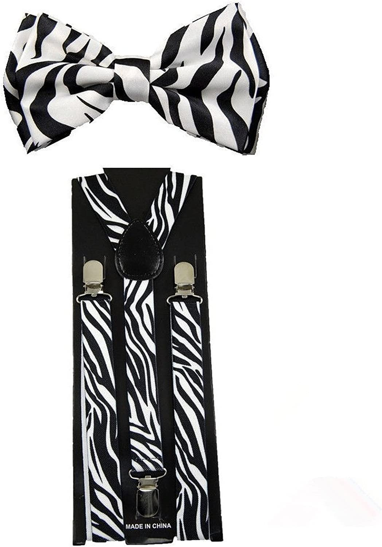 Unisex Suspenders & Pre-Tied Bow Tie Combo Set (Zebra)