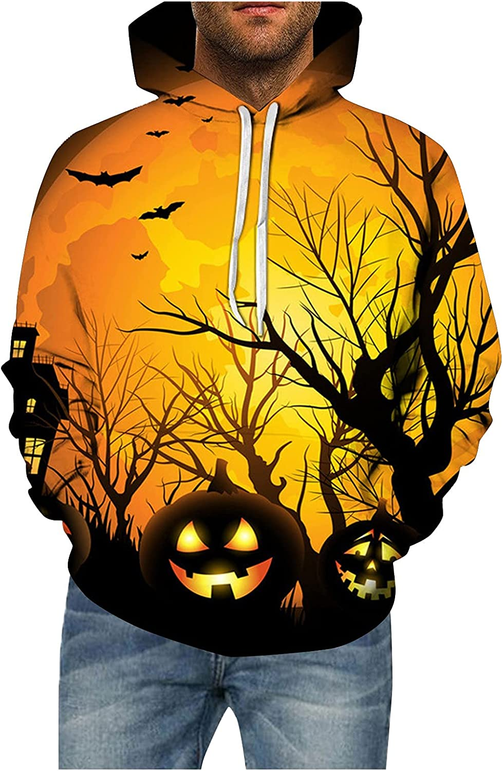Burband Unisex Halloween Graphic Hoodie Pullover Sweatshirts Evil Pumpkin 3D Printed Hoodies Sweaters for Couples Plus Size