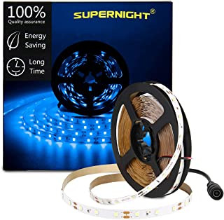 SUPERNIGHT LED Light Strip Blue, 16.4ft SMD 2835 300leds Rope Lights Non-Waterproof Flexible Tape for DIY Christmas Home Kitchen Indoor Party Bedroom Decoration