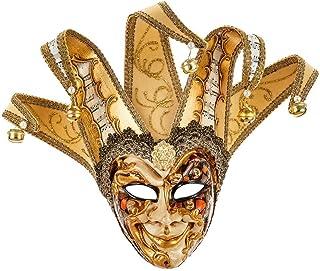 Maschera Decorativa Piccola Originale Veneziana Fatta A Mano Con Volto Di Joker - Decoro Fantasy Rame E Oro E Punte In Vel...