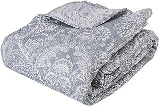 Conjunto de colcha de cama acolchada con 2 fundas de cojines - Talla grande - Estilo Encanto - Color: Gris y Blanco.