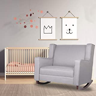 Aclumsy Upholstered Rocking Chair, Modern High Back Armchair, Comfortable Rocker Fabric Padded Seat Wood Base, Rocking Chair for Nursery (Grey)