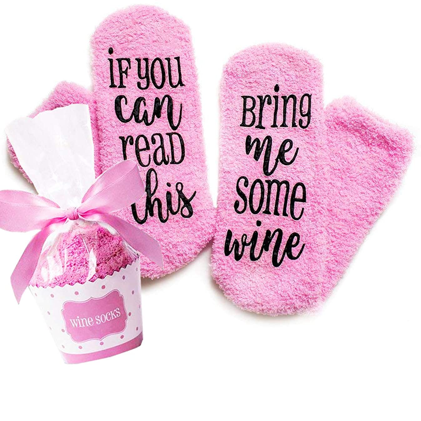 Xpeciall Gift Wine Socks If You Can Read This Bring Me Some Wine Funny Novelty Luxury Socks - Wine Lovers Gifts for Women Under 25 Dollars (Pink)