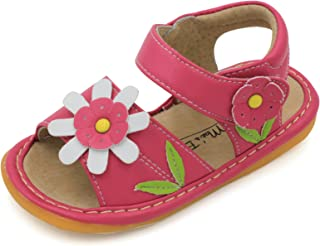 Hot Pink with White Flower Toddler Girl Squeaky Sandal Shoes