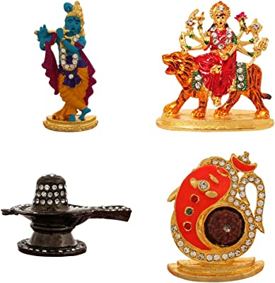 ART N HUB 2 Combo of 4 Brass Statue God Krishna, Durga JEE, Lord Shivling, Rudraksh Ganesh Idol Pooja Mandir/Home Temple & Car Dash Board Showpiece Gift Item