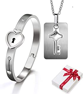 2 pezzi bracciale e collana con chiave Braccialetto con lucchetto e catena con ciondolo set di chiavi per lui e lei coppia...