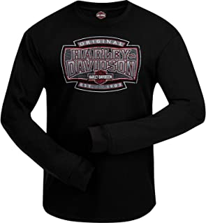 Military - Men's Long Sleeve Graphic Thermal Shirt with Round Hem - Ramstein Air Base | H-D Shield