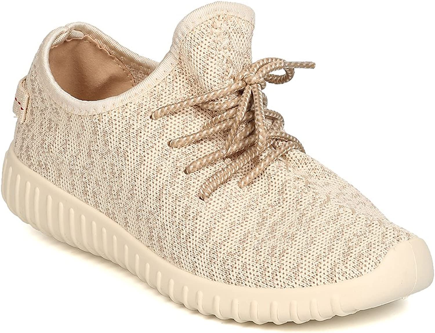 Wild Diva Women Fabric Knitted Lace Up Jogger Sneaker GA00 - Natural