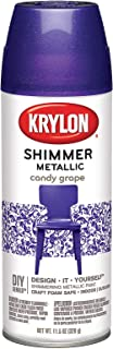 (Purple Shimmer) - Krylon Shimmer Metallic Spray Paint, 340ml, Purple Multi-Coloured