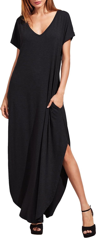 Jollymoda Women's Elegant Solid Black V Neck Side Split Long Maxi Dress