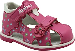 Apakowa Boy's and Girl's Double Adjustable Strap Closed-Toe Sandals