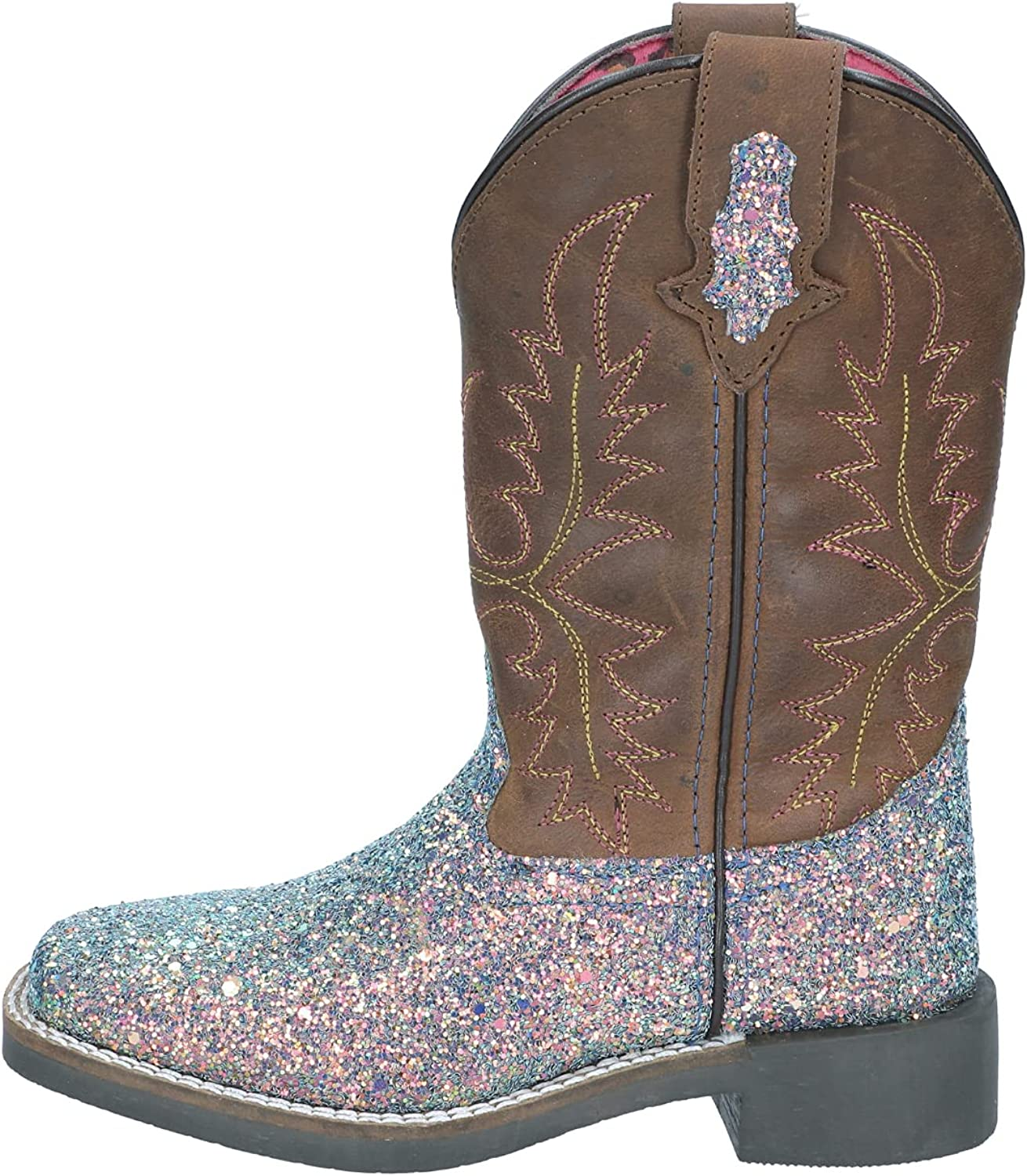 Smoky Mountain Boots | Ariel Series | Youth Western Boot | Square Toe Leather | Glitter Foot | TPR Sole & Block Heel | Leather Shaft & Tricot Lining | Man-Made Trim