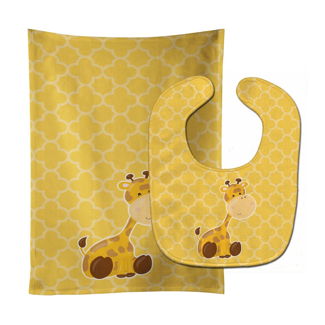 Caroline's Treasures BB8609STBU Giraffe Baby Bib & Burp Cloth, 11 x 18