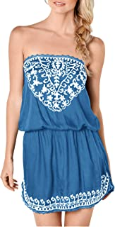 Upopby Women's Sexy Summer Beach Cover Up Dress Strapless Mini Dresses Printed Tube Top Dresses Plus Size