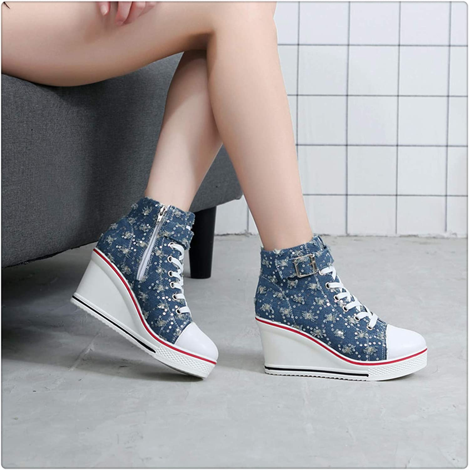 NNHLPO& Breathable High Top Platform shoes Women Canvas shoes Summer 2019 Casual Denim shoes Ladies Trainers High Heel for Walking bluee with Beads 8