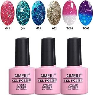 AIMEILI Soak Off UV LED Gel Nail Polish Multicolour/Mix Colour/Combo Colour Set Of 6pcs X 10ml - Kit Set 9