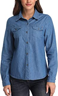 Dilgul Women's Button Down Denim Shirt Long Sleeve Jean Shirts with Two Chest Pockets
