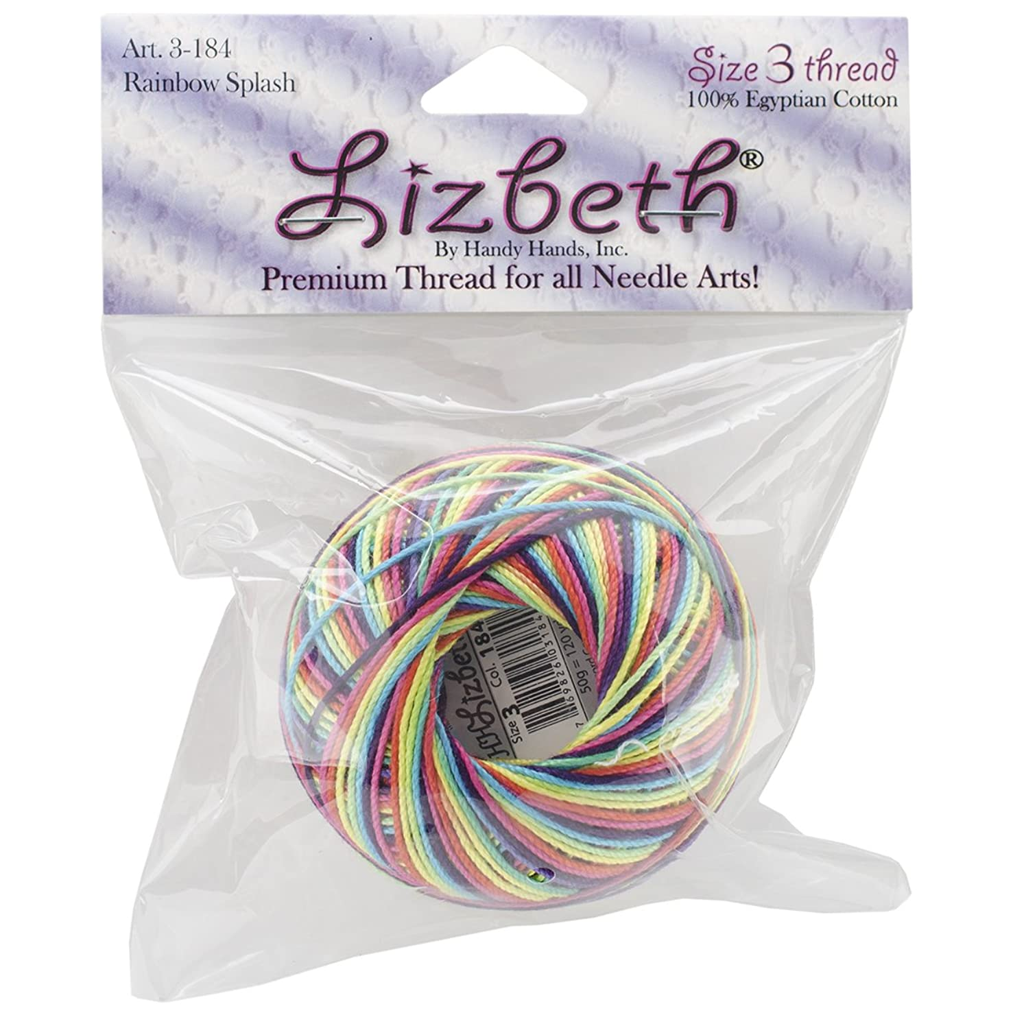 Handy Hands Lizbeth Cordonnet Cotton, 3, Rainbow Splash