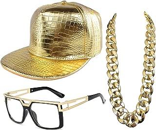 80s/90s Hip Hop Costume - Decky Cotton Bucket Hat,Rapper Hip Hop DJ Glasses Sunglasses,Gold Chain (Set-B4, OneSize)