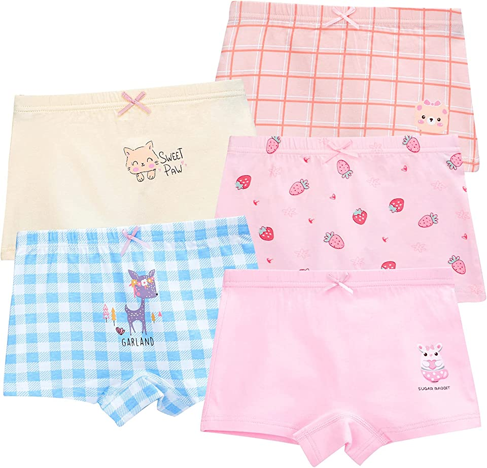 Girls Knickers 5 Pack Cute Bunny Pattern Boxer Shorts Underwears Cotton Toddler Girls Panties 3-13 Years