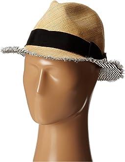 San Diego Hat Company - EBH9890 Woven Raffia Fray Edge Fedora w/ Bow