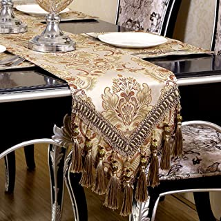 OZXCHIXU Embroidered Table Runners, Modern Jacquard Fabric Damask Table Runners with Handmade Multi-Tassels, Dresser Decoration Table Runners 14x108 Inch Khaki