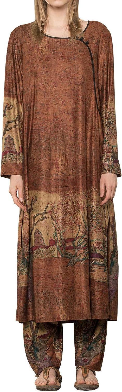 OUTLINE Ethnic Style Dress Retro Buttons Decorative Print Dress Autumn Original Design
