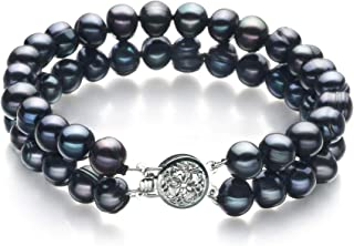 Lavinia Black 6-7mm Double Strand A Quality Freshwater Cultured Pearl Bracelet for Women
