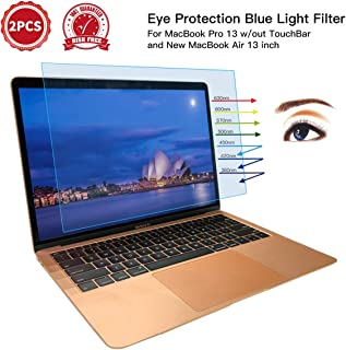 [2PCS Pack] MacBook Pro Screen Protector Anti-Glare Blue Light Filter for 2016-2019 MacBook Pro Touch Bar 13 inch A2159 A1706 A1708 A1989 and 2019-2018 MacBook Air 13 with Touch ID A1932 Screen Protector
