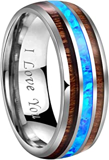 CROWNAL 8mm Blue Opal and Abalone Shell Inlay Tungsten Carbide Ring Men Women Wedding Band High Polished Engraved I Love You Size 7 to 17