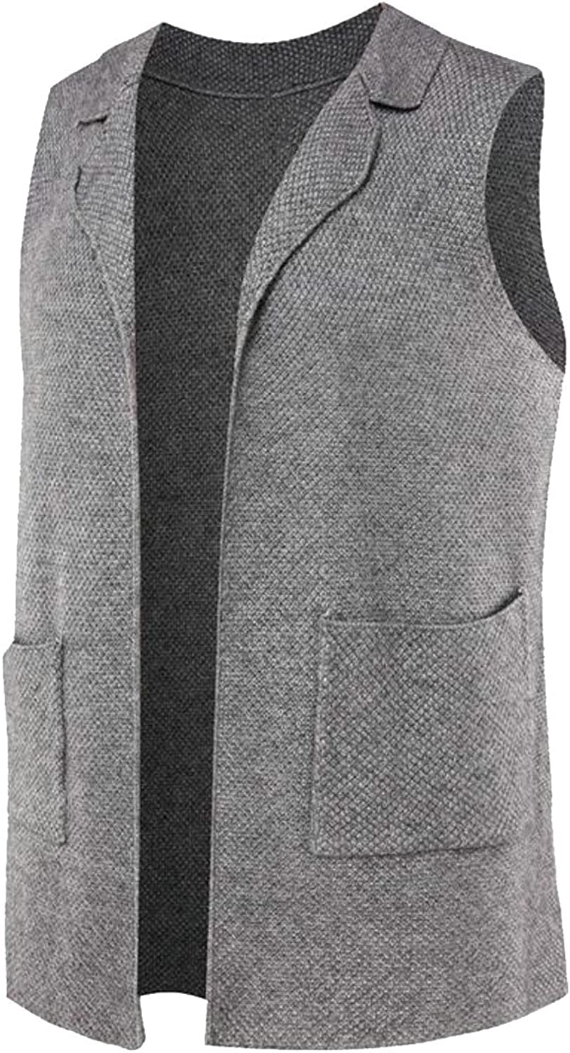 37a25b9aafb28 GenericMen Generic Men's Knitted Sleeveless Solid Solid Solid Sweater Vest  Cardigan 6581bb
