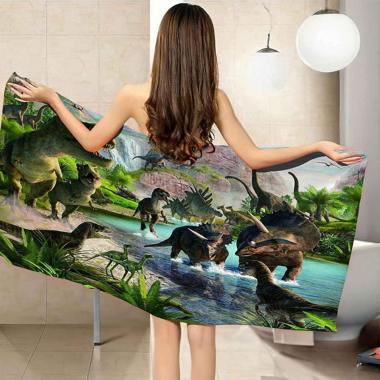 VJEJSE 3D Green Forest Dinosaur Print Bath Choice Towel Quick Soft Dryi Ranking TOP14