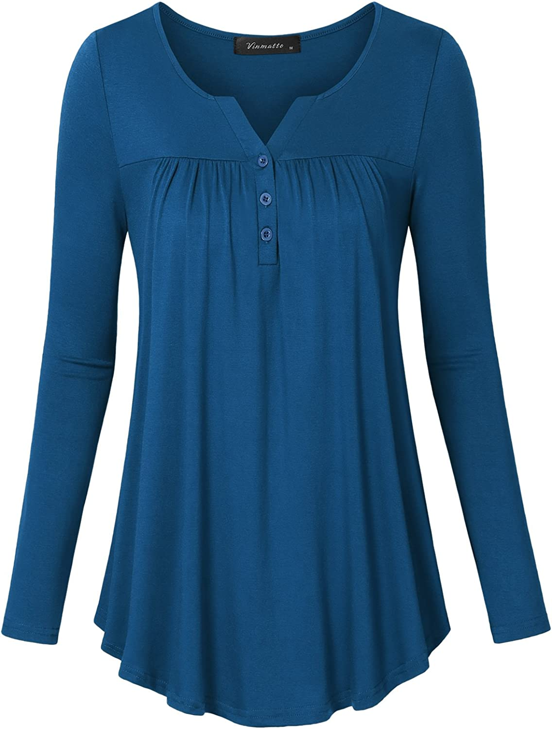 Vinmatto Women's Long Sleeve Henley V Neck Pleated Button Details Tunic Shirt Top