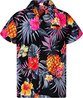 Funky Hawaiian Shirt Men Shortsleeve Frontpocket Hawaiian-Print Leaves Flowers Pineapple