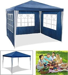 HG® Partyzelt Gartenpavillon Bierzelt blau 3x3m mit extra dickem Stahlgestänge Vereinszelt Wasserdicht komplett verschließbar Camping Festival als Unterstand und Plane festzelte Pavillion