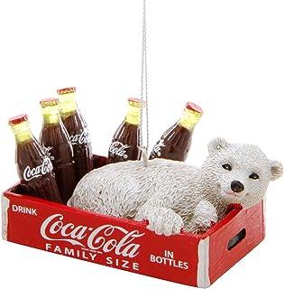 Kurt Adler Coca-Cola Polar Bear Cub In Crate With Bottles Ornament