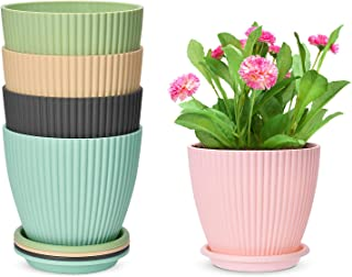 6 Inch Plastic Planters Indoor Set of 5 Flower Plant Pots Modern Decorative Gardening Pot with Drainage for All House Plan...